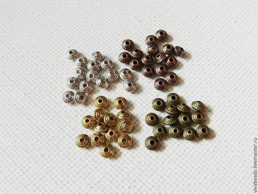 Бусина металлическая спейсер (разделитель бусин), размер 5*3 мм, отверстие 1,5 мм (арт. 1230)
