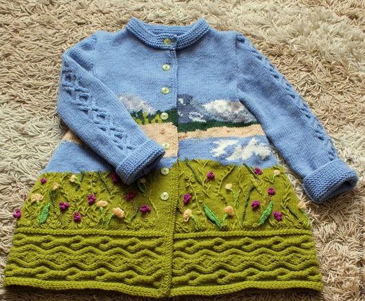 Одежда для девочек, ручной работы. Ярмарка Мастеров - ручная работа. Купить пальто Горный луг вязаное авторское. Handmade. Разноцветный