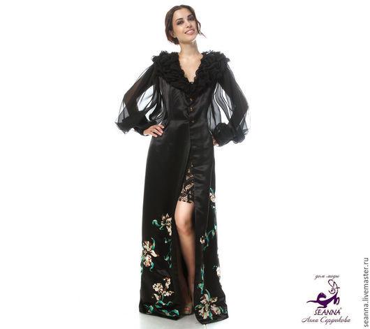 """Верхняя одежда ручной работы. Ярмарка Мастеров - ручная работа. Купить Платье-пальто вышитое """"Шелковая Орхидея"""" из атласа с вышивкой,. Handmade."""
