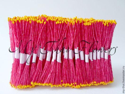 Тычинки. Мелкие желтые головки на красной нити My Thai. Материалы для флористики из Таиланда