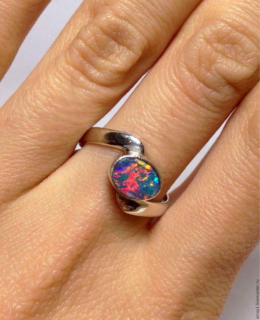 Кольца ручной работы. Ярмарка Мастеров - ручная работа. Купить Кольцо голубой опал. Handmade. Серебро 925 пробы, кольцо