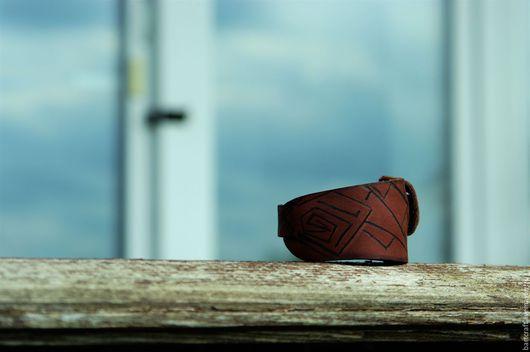 """Браслеты ручной работы. Ярмарка Мастеров - ручная работа. Купить Браслет кожаный """"Клин"""". Handmade. Коричневый, кожа натуральная"""