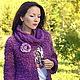 """Кофты и свитера ручной работы. Заказать Жакет с брошью """"Пурпурная роза"""". Elvira Zalina. Ярмарка Мастеров. Осень, сирень, бохо"""