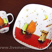 """Посуда ручной работы. Ярмарка Мастеров - ручная работа Тарелка и кружка """"Двое"""". Handmade."""