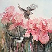 Картина акварелью  Акварельная весна с ирисами и птицами