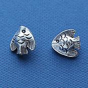 Материалы для творчества ручной работы. Ярмарка Мастеров - ручная работа Бусина sPP592, тропическая рыбка, серебро. Handmade.