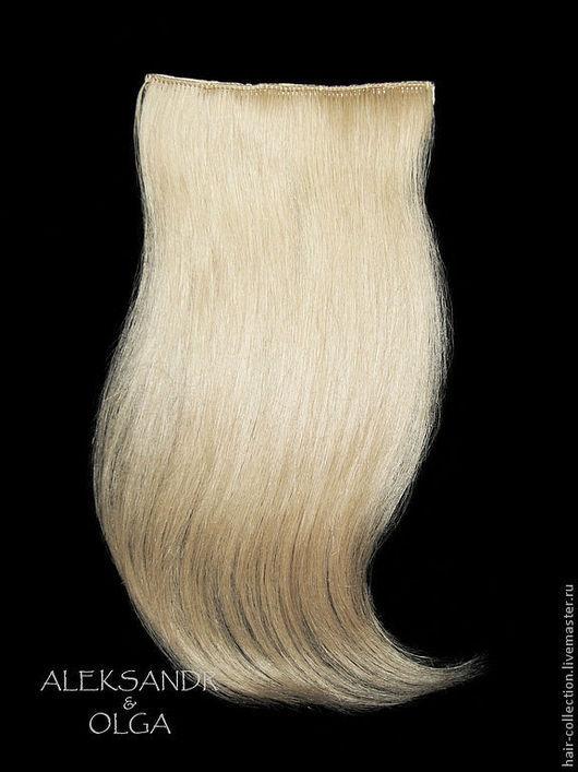 ШИНЬОНЫ - ленты  на заколках - постиж, светлый блонд - 35 см. В Наборе - 2 шт.