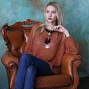 """Одежда ручной работы. Ярмарка Мастеров - ручная работа Легкий свитерок из альпаки с пайетками """"Рыжая медь"""". Handmade."""