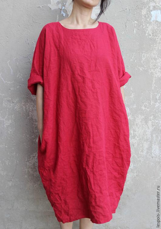 Платья ручной работы. Ярмарка Мастеров - ручная работа. Купить Льняное платье. Handmade. Бордовый, черный, сшить платье на заказ