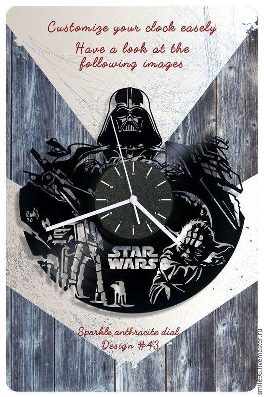 """Часы для дома ручной работы. Ярмарка Мастеров - ручная работа. Купить Часы из пластинки """"Star Wars"""". Handmade. Комбинированный"""