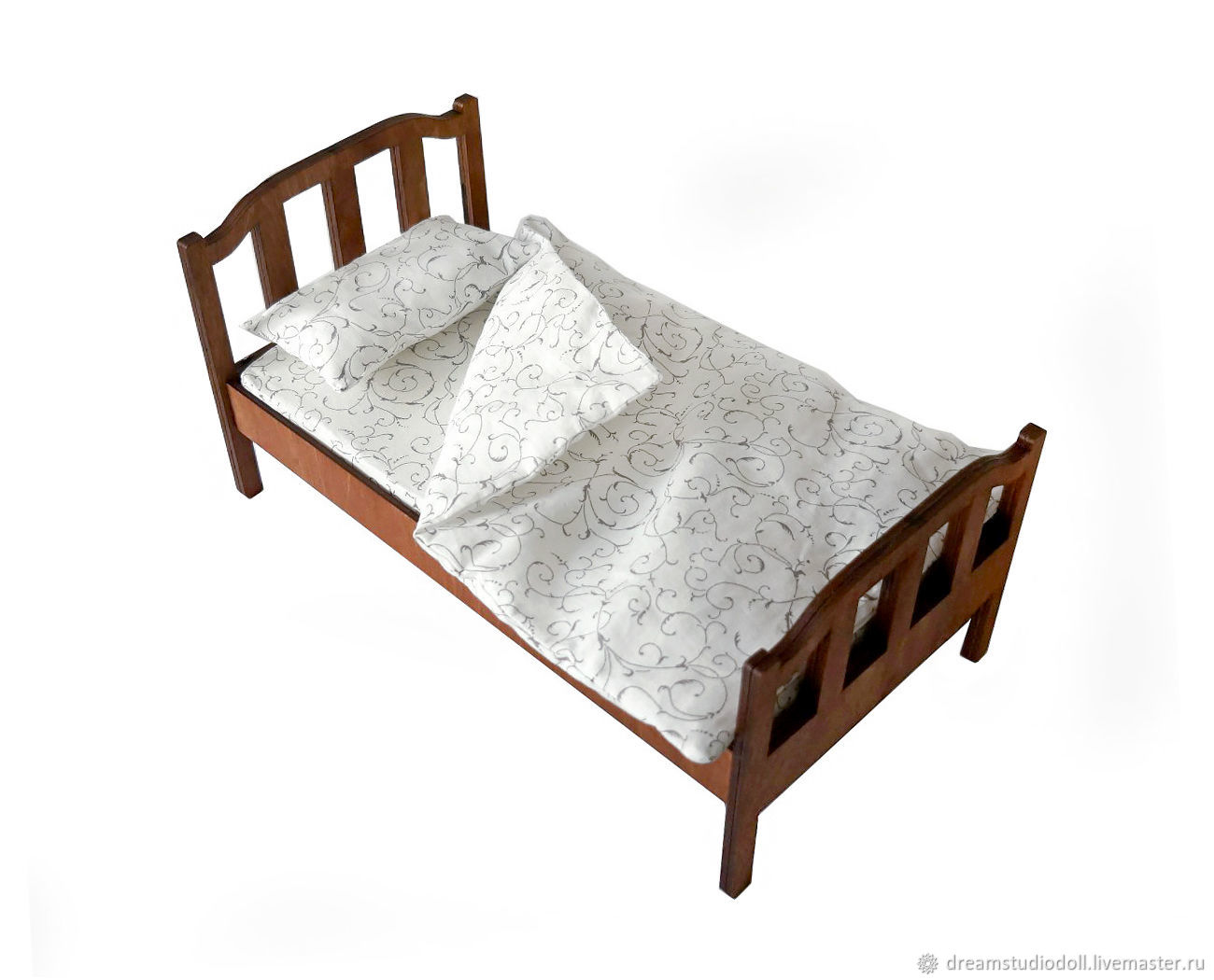 Bed No. №1 for dolls 1:6 (Barbie), 1:4: 1:3 MSD,  SD, Doll furniture, St. Petersburg,  Фото №1