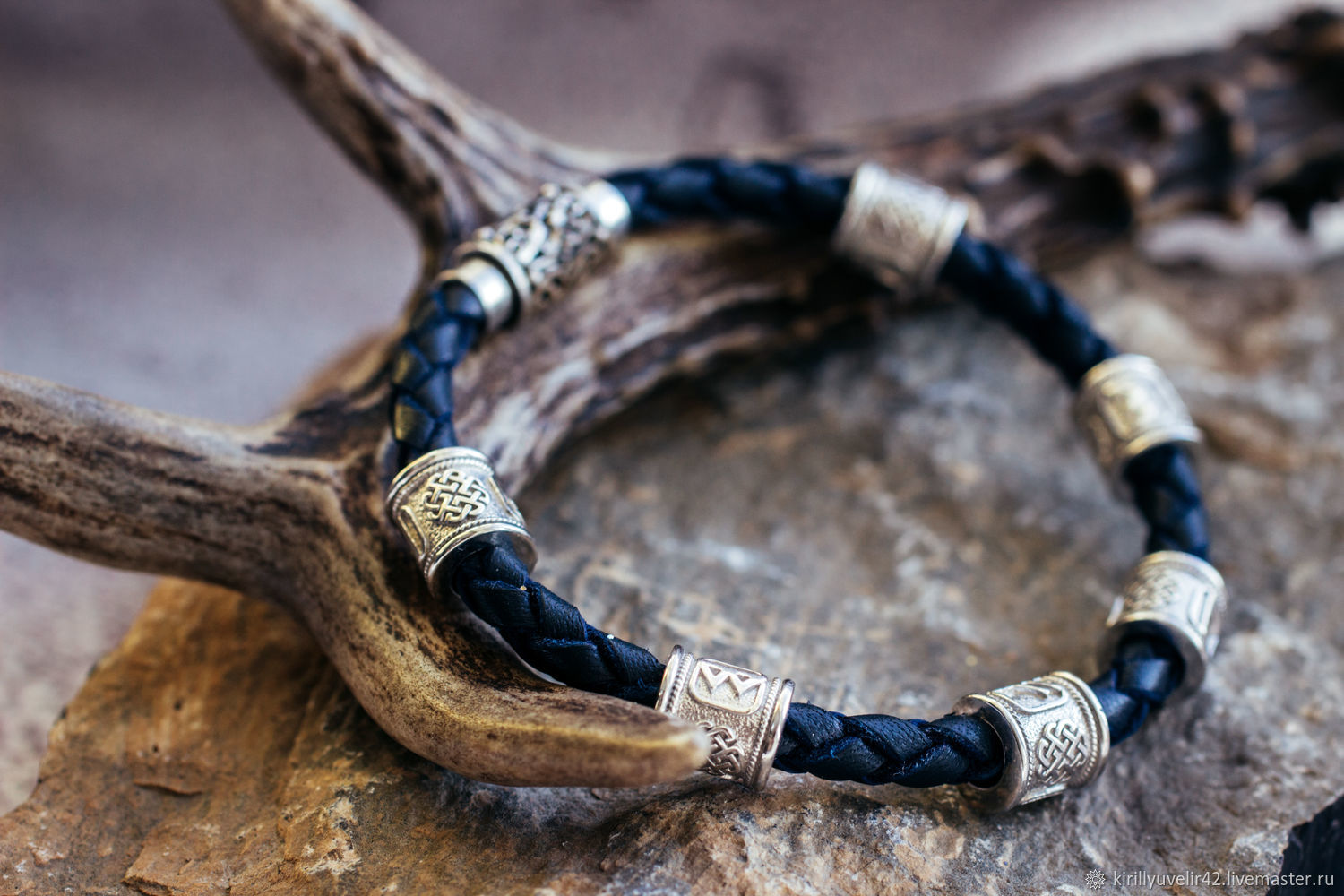 Rune bracelet in 925 silver with blackening and 585 gold, Bead bracelet, Kemerovo,  Фото №1