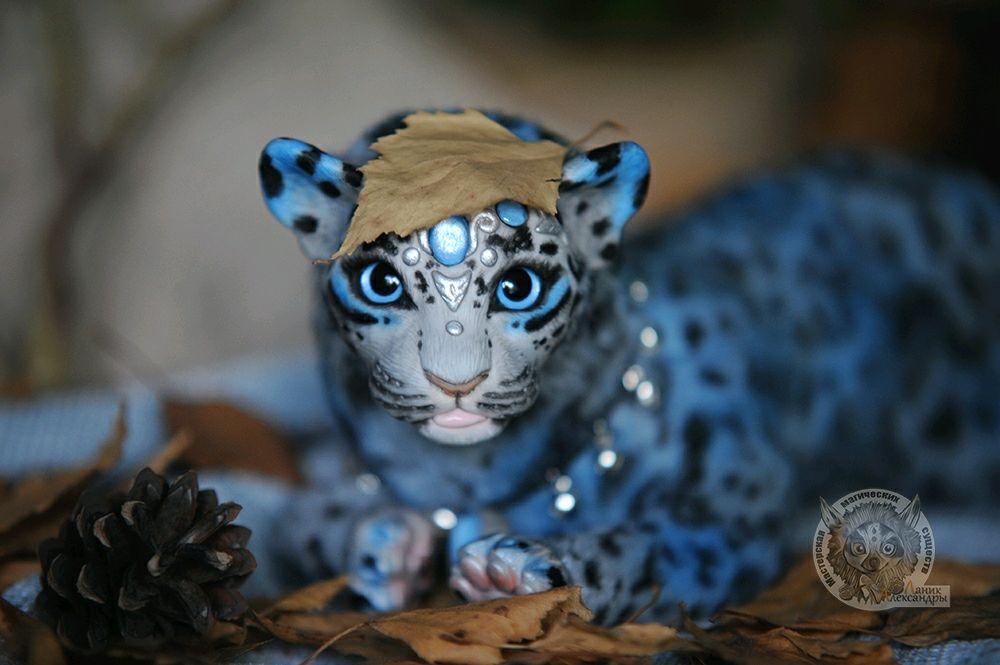 Интерьерная игрушка :  Фэнтезийный котёнок леопарда Blue Mamba, Мягкие игрушки, Москва,  Фото №1