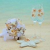"""Свадебный салон ручной работы. Ярмарка Мастеров - ручная работа Свадебные бокалы """"Морская свадьба"""". Handmade."""