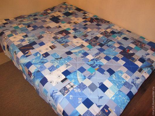 """Текстиль, ковры ручной работы. Ярмарка Мастеров - ручная работа. Купить лоскутное одеяло """"Глубокое синее море,бездонное синее небо"""". Handmade."""