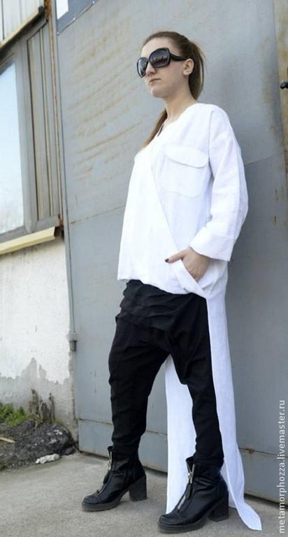 Топы ручной работы. Ярмарка Мастеров - ручная работа. Купить Льняная рубашка. Handmade. Белый, топ-рубашка, туника из льна