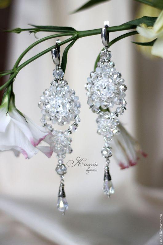 Длинные серьги с кристаллами Сваровски Длинные вечерние серьги Серьги свадебные Хрустальные серьги