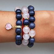 Украшения handmade. Livemaster - original item Stylish set of bracelets from agate and rose quartz. Handmade.