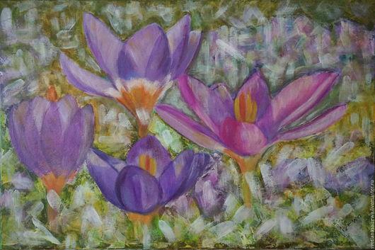Картины цветов ручной работы. Ярмарка Мастеров - ручная работа. Купить Весна и крокусы. Handmade. Фиолетовый, первоцветы, подарок подруге