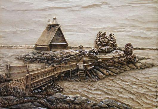 Пейзаж ручной работы. Ярмарка Мастеров - ручная работа. Купить Остров. Handmade. Резное панно из дерева, резьба по дереву