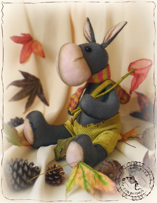 Игрушки животные, ручной работы. Ярмарка Мастеров - ручная работа. Купить Ослик с розовым сачком. Handmade. Серый, интерьерная игрушка