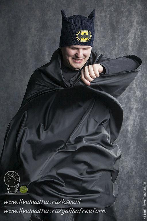 """Шапки ручной работы. Ярмарка Мастеров - ручная работа. Купить Шапка """"Бэтмен"""". Handmade. Черный, черно-синяя шапка"""