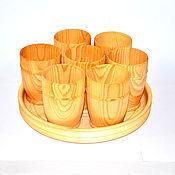 Посуда ручной работы. Ярмарка Мастеров - ручная работа Стаканы кружки деревянные для чая кваса морсов из натурального кедра. Handmade.