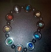 Bead bracelet handmade. Livemaster - original item Beautiful charm bracelet with magnetic hematite and cat`s eye. Handmade.