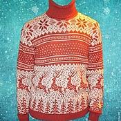 Одежда ручной работы. Ярмарка Мастеров - ручная работа Мужской свитер c оленями. Handmade.
