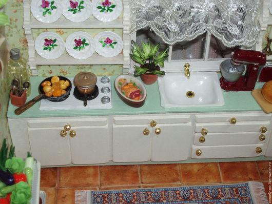 """Кукольный дом ручной работы. Ярмарка Мастеров - ручная работа. Купить Румбокс """"Кухня"""". Handmade. Комбинированный, дерево"""