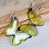 Украшения ручной работы. Ярмарка Мастеров - ручная работа Прозрачные серьги бабочки желтые лимонные / Австралия горчичный. Handmade.