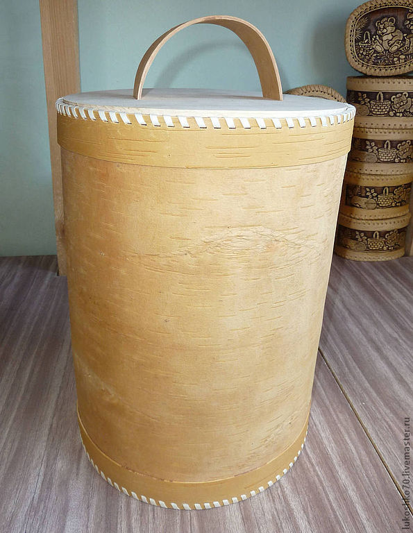 Box of birch bark 'Super'. A container for storing flour, sugar, cereals, Utensils, Tomsk, Фото №1