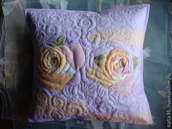 "Quilted and patchwork pillowcase  ""Morning Roses"", Pillow, Yaroslavl,  Фото №1"