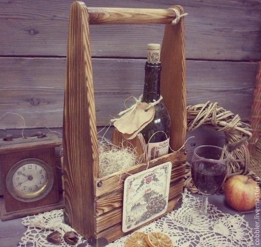 Кухня ручной работы. Ярмарка Мастеров - ручная работа. Купить Винный короб массивный. Handmade. Коричневый, виноград, обжиг