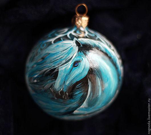 Новый год 2017 ручной работы. Ярмарка Мастеров - ручная работа. Купить Синяя Лошадь - авторский елочный шар. Handmade. Синий