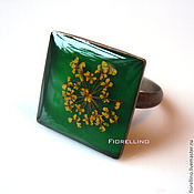 Украшения handmade. Livemaster - original item Green square ring with yellow flower. Handmade.