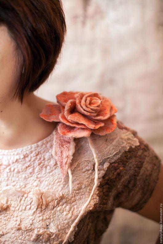 Большие размеры ручной работы. Ярмарка Мастеров - ручная работа. Купить Пудровая Роза для фактурных девушек. Handmade. Валяное платье