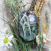 Украшения handmade. Livemaster - original item lacquer miniature,pendant,the painting on the stone. Handmade.