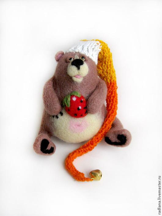 """Игрушки животные, ручной работы. Ярмарка Мастеров - ручная работа. Купить Войлочная фигурка — """"Медведь-засоня"""". Handmade. Подарок"""