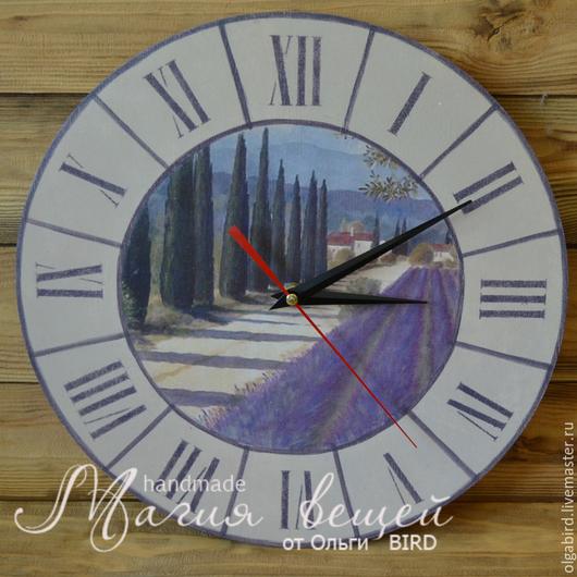 Часы для дома ручной работы. Ярмарка Мастеров - ручная работа. Купить Часы ЛАВАНДОВОЕ ПОЛЕ. Handmade. Декупаж, часы декупаж