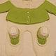 Для новорожденных, ручной работы. Зелёный костюмчик с листиками. Елена Свинина. Интернет-магазин Ярмарка Мастеров. Салатовый