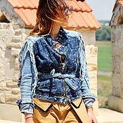 Одежда ручной работы. Ярмарка Мастеров - ручная работа Джинсовая Куртка Клепки. Handmade.