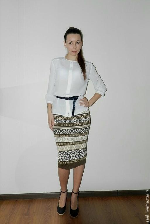 вязынная юбка из полос: