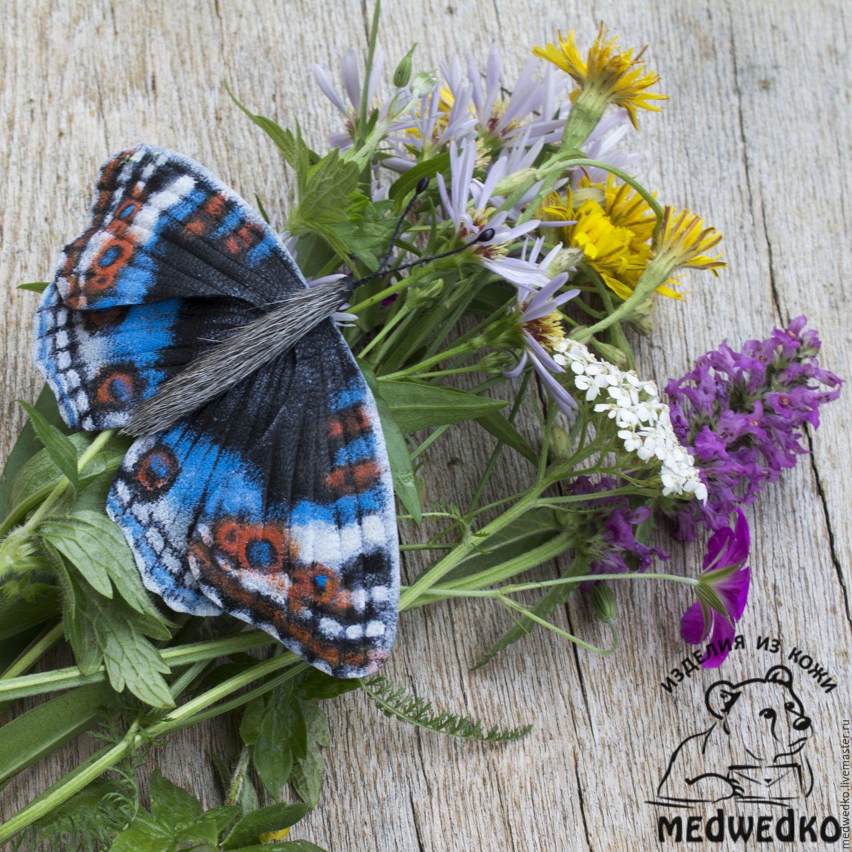 Брошь из кожи Бабочка Blue Pansy-3, Броши, Видное, Фото №1
