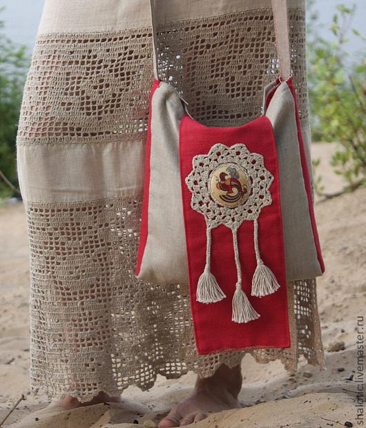 Льняная симка в славянском стиле, сумка летняя  льняная, эко стиль, бохо, этно, автор  Юлия  Льняная сказка