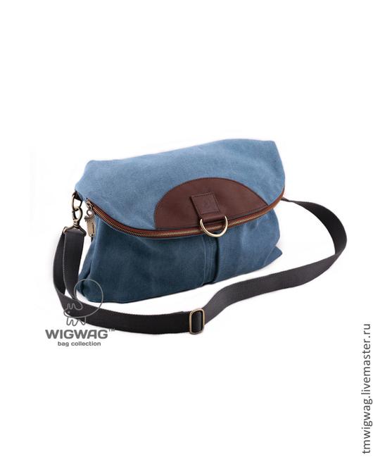 Женские сумки ручной работы. Ярмарка Мастеров - ручная работа. Купить Женская сумка-рюкзак из канваса голубого цвета и натуральной кожи. Handmade.