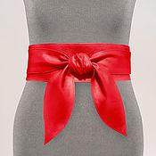 Аксессуары handmade. Livemaster - original item Obi belt made of genuine leather (red). Handmade.