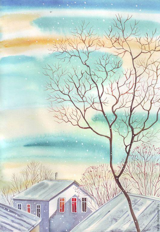Пейзаж ручной работы. Ярмарка Мастеров - ручная работа. Купить Морозный день и столько солнца. Акварель. Handmade. Бирюзовый, Снег