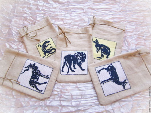 Упаковка ручной работы. Ярмарка Мастеров - ручная работа. Купить Льняные мешочки с вышивкой. Handmade. Серый, Вышитые животные