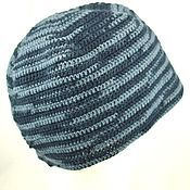 Аксессуары ручной работы. Ярмарка Мастеров - ручная работа Вязаная спортивная тёплая шапка, шерстяная шапка, чёрная с серым. Handmade.